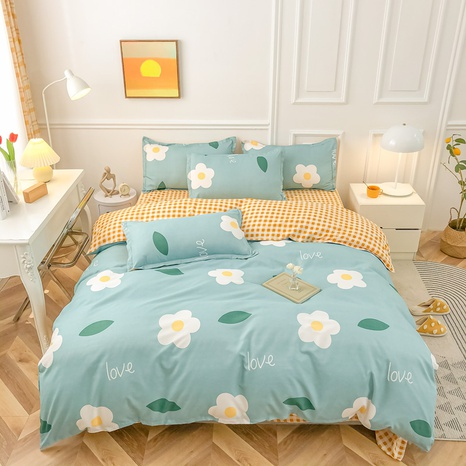 Großhandel Cartoon-Blumen-Blatt-Druck gebürsteter Bettbezug Bettwäsche-Set nihaojewelry NHMAR408879's discount tags