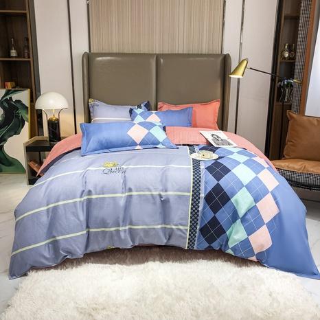 Großhandel karierte gestreifte Nähte drucken gebürsteter Bettbezug Bettwäsche-Set nihaojewelry NHMAR408880's discount tags