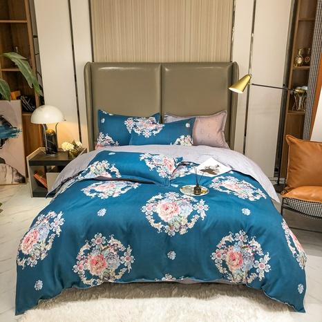 Großhandel geometrischer Blumendruck gebürsteter blauer Bettbezug Bettwäsche-Set nihaojewelry NHMAR408883's discount tags