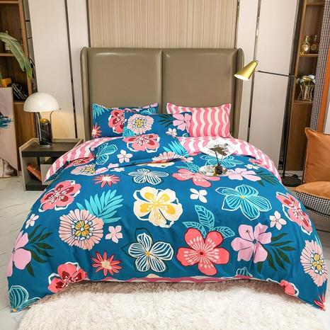 Großhandel Hit Farbe Blumendruck gebürstete Bettbezug Bettwäsche-Set nihaojewelry NHMAR408873's discount tags