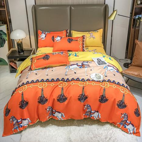 Großhandel Hit Farbe Pferdedruck gebürstete Bettbezug Bettwäsche Set nihaojewelry NHMAR408871's discount tags