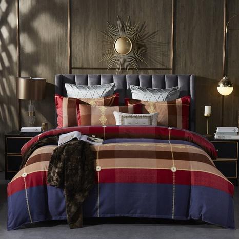 Großhandel Hit Farbe gestreiften Druck gebürstet Bettbezug Bettwäsche Set nihaojewelry NHDYJ409757's discount tags