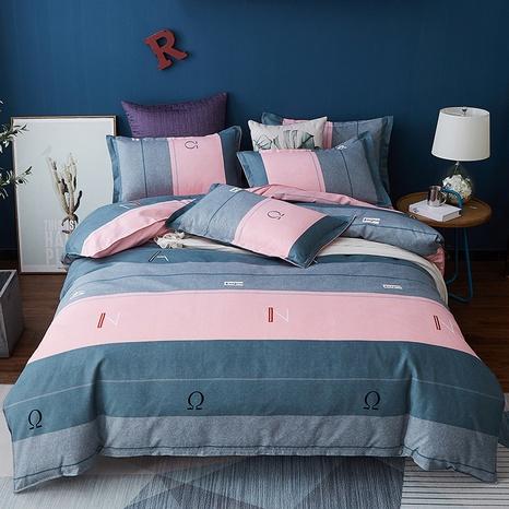Großhandel Hit Farbe Streifen Brief Druck gebürstet Bettbezug Bettwäsche Set nihaojewelry NHDYJ409755's discount tags