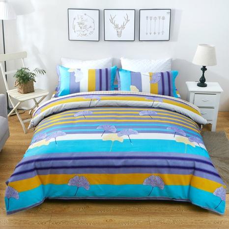 Großhandel Hit Farbe Streifen Blattdruck gebürstete Bettbezug Bettwäsche-Set nihaojewelry NHDYJ409754's discount tags
