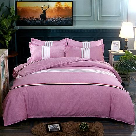 Großhandel Streifendruck gebürstet rosa Bettbezug Bettwäsche-Set nihaojewelry NHDYJ409753's discount tags