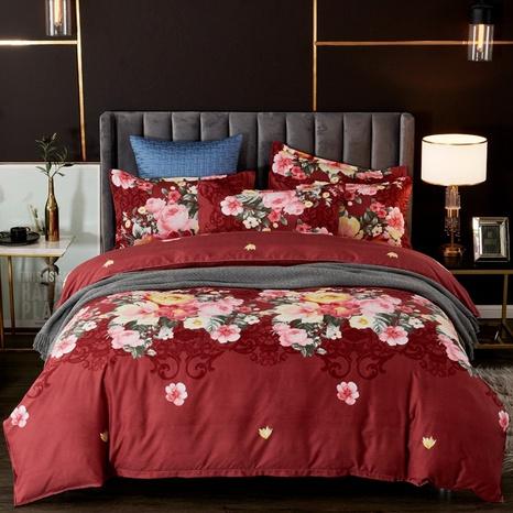Großhandel Blumendruck gebürsteter roter Bettbezug Bettwäsche-Set nihaojewelry NHDYJ409748's discount tags