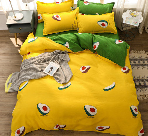Großhandel Obst Avocado Print gebürsteter Bettbezug Bettwäsche-Set nihaojewelry NHMAR408878's discount tags