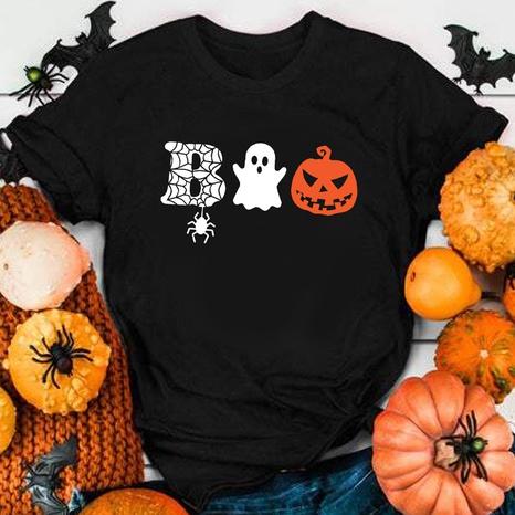 Halloween-Spinnen-Kürbis-Druck-Kurzarm-T-Shirt Großhandel nihaojewelry NHZN419741's discount tags