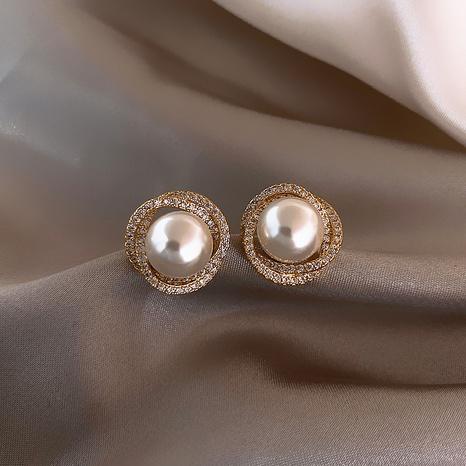 Korean Spiral Pearl Earrings Wholesale Nihaojewelry NHPF409214's discount tags