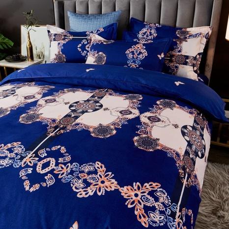 Großhandel geometrischer Totom-Druck gebürsteter blauer Bettbezug Bettwäsche-Set nihaojewelry NHDYJ409747's discount tags