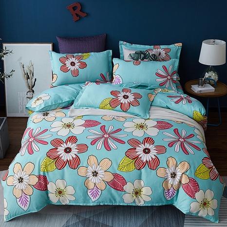 Großhandel Farbe Blumendruck gebürsteter azurblauer Bettbezug Bettwäsche-Set nihaojewelry NHDYJ409745's discount tags