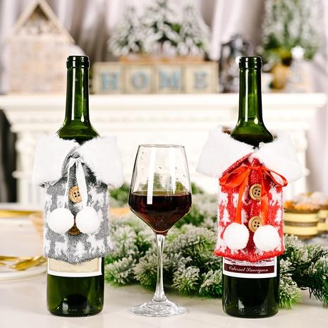 wholesale weißes Revers Nachahmung Leinen bedruckte Weinflaschenabdeckung Weihnachtsdekoration nihaojewelry NHHB409394's discount tags