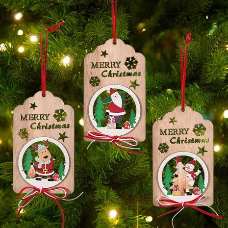 Großhandel hölzerner hohler Bogendruck Weihnachtsanhänger nihaojewelry NHHB409397's discount tags