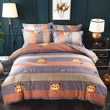 Großhandel Cartoon Bär Hit Farbdruck gebürsteter Bettbezug Bettwäsche-Set nihaojewelry NHDYJ409744's discount tags