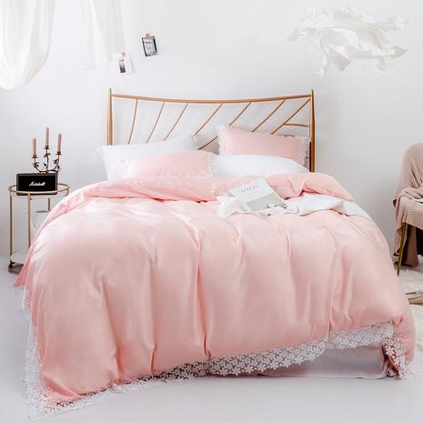 einfarbige Spitzenseite Bettbezug Kissenbezug dreiteilige Sets Großhandel Nihaojewelry NHBOM409466's discount tags