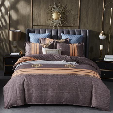 Großhandel Hit-Farbe gestreifter geometrischer Druck gebürsteter Bettbezug Bettwäsche-Set nihaojewelry NHDYJ409742's discount tags