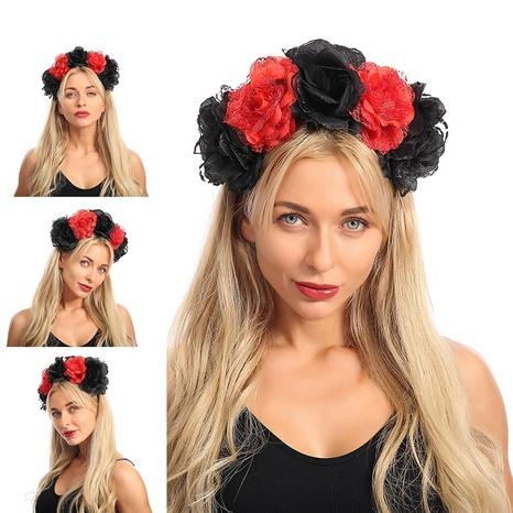 Nueva diadema de encaje de flores grandes negras y rojas de tela artificial al por mayor Nihaojewelry NHJAY408996's discount tags
