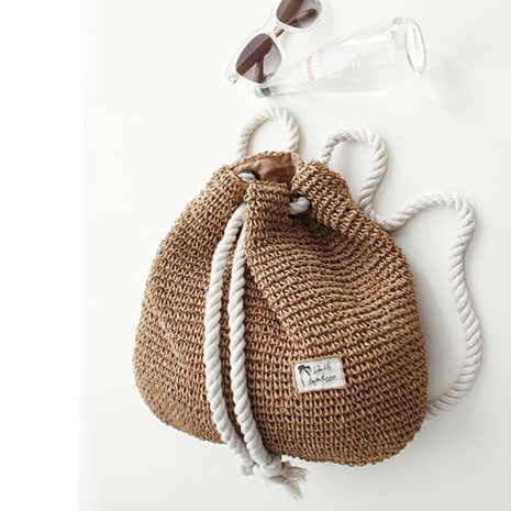simple fashion cotton rope straw woven packbag wholesale nihaojewelry  NHXM409034's discount tags