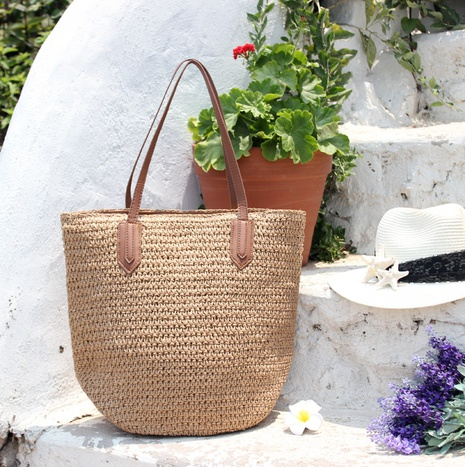 simple fashion new paper rope one-shoulder straw woven bag wholesale nihaojewelry NHXM409035's discount tags