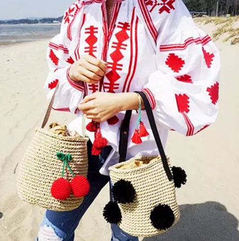 new three-dimensional cherry ball straw woven one shoulder bag wholesale nihaojewelry NHXM409036's discount tags