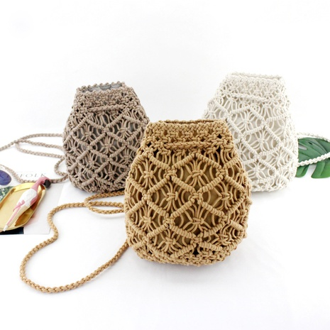 new vintage cotton rope mini straw woven bag wholesale nihaojewelry NHXM409039's discount tags