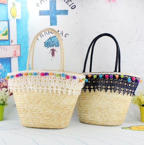 new fashion straw lace tassel one-shoulder bag wholesale nihaojewelry NHXM409040's discount tags