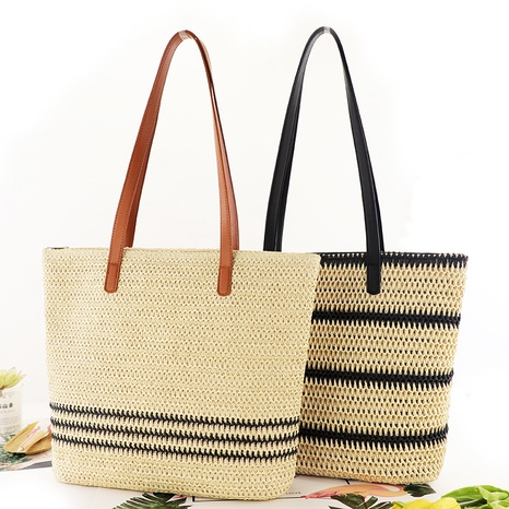 new fashion contrast color striped woven one-shoulder straw bag wholesale nihaojewelry NHXM409041's discount tags
