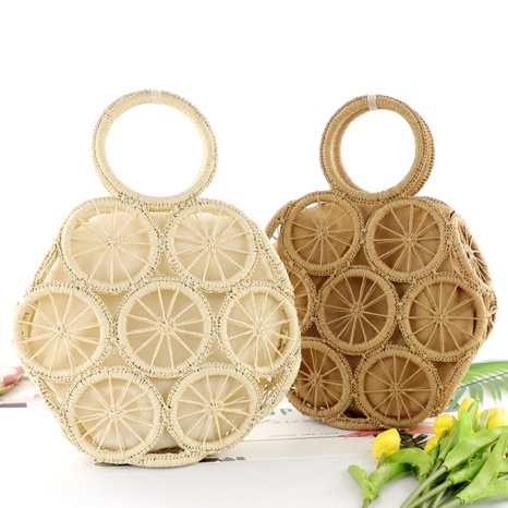 new vintage circle hollow paper rope woven bag wholesale nihaojewelry NHXM409042's discount tags