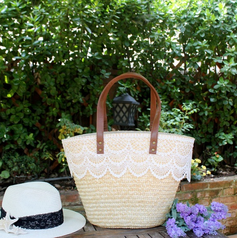 new fashion wheat straw woven lace bag wholesale nihaojewelry NHXM409043's discount tags