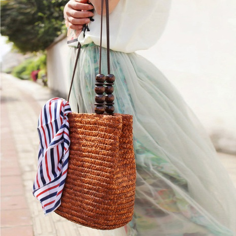 simple retro bead straw woven solid color bag wholesale nihaojewelry NHXM409044's discount tags
