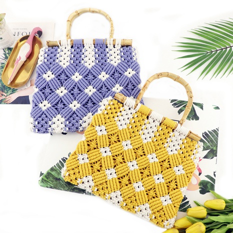 New vintage bamboo straw woven contrast color bag wholesale nihaojewelry NHXM409045's discount tags