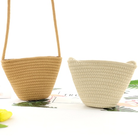 new dumpling shaped cotton rope straw bag wholesale nihaojewelry NHXM409046's discount tags