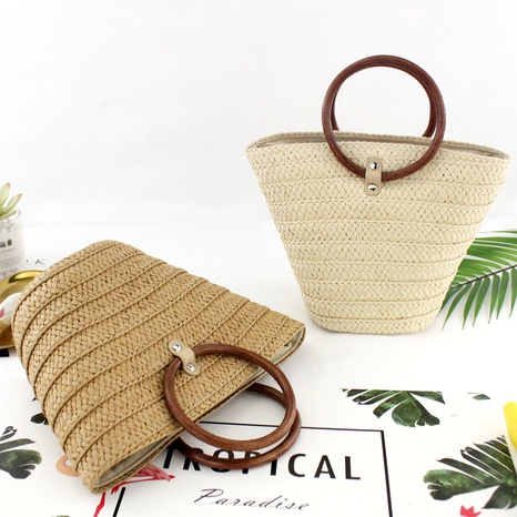 vintage circle handle straw woven bucket hand-tie bag wholesale nihaojewelry NHXM409047's discount tags