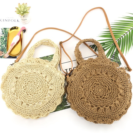 new casual round flower straw shoulder woven bag wholesale nihaojewelry NHXM409049's discount tags