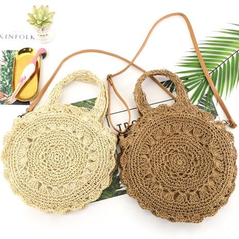 neue beiläufige runde Blumenstrohschulter gewebte Tasche Großhandel nihaojewelry NHXM409049's discount tags