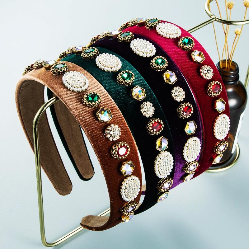 Baroque geometric pearl rhinestone headband wholesale Nihaojewelry NHLN409658
