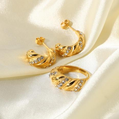Pendiente del anillo del croissant del circón del oro del acero inoxidable 18K al por mayor Nihaojewelry NHJIE409736's discount tags
