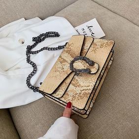 Wholesale women's fashion snakeskin pattern small square bag chain shoulder messenger bag NHLH409740