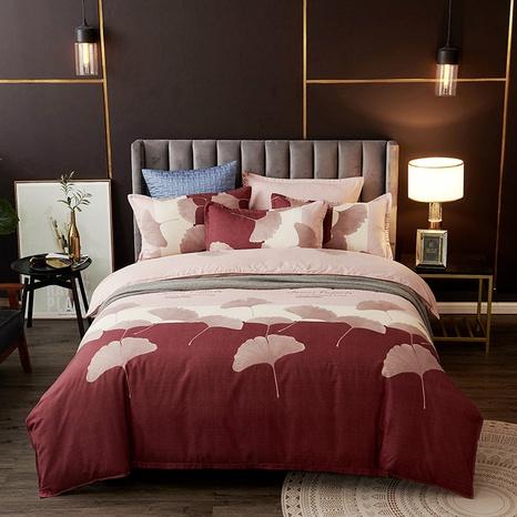 Großhandel Hit Farbe Gingko-Blatt-Druck gebürstet Bettbezug Bettwäsche Set nihaojewelry NHDYJ409758's discount tags