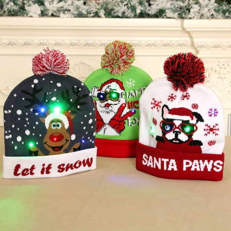 New luminous knitted Christmas hat wholesale Nihaojewelry  NHMV410033's discount tags