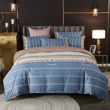 Großhandel Hit Farbe gestreiften Druckbuchstaben gebürstet Bettbezug Bettwäsche-Set nihaojewelry NHDYJ410473's discount tags
