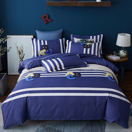 Großhandel Hit Farbe Brief gestreiften Druck gebürstet Bettbezug Bettwäsche-Set nihaojewelry NHDYJ410472's discount tags