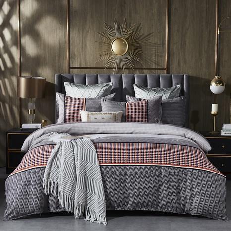 Großhandel Hit Farbe geometrisches Muster Plaid gebürstet Bettbezug Bettwäsche-Set nihaojewelry NHDYJ410470's discount tags