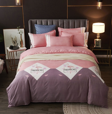 Großhandel Hit Color Plaid Flamingo Print gebürsteter Bettbezug Bettwäsche-Set nihaojewelry NHDYJ410469's discount tags