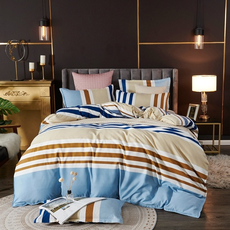 Großhandel Hit Farbe gestreiften Druck Bettbezug Bettwäsche Set nihaojewelry NHDYJ410467's discount tags
