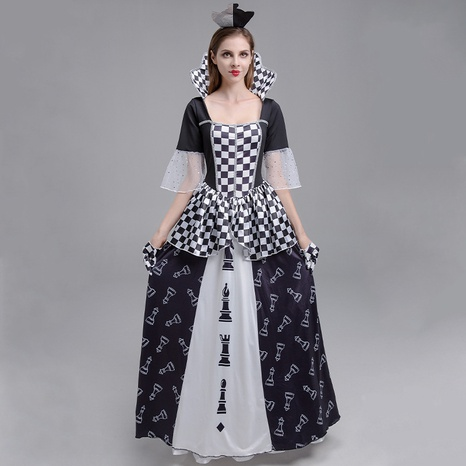 wholesale Halloween cosplay checkerboard queen black white color matching dress nihaojewelry  NHFE410343's discount tags