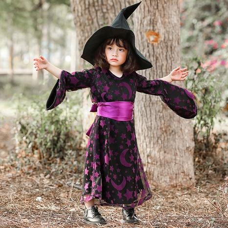 fashion halloween children purple witch star moon print dress wholesale nihaojewelry NHFE410377's discount tags
