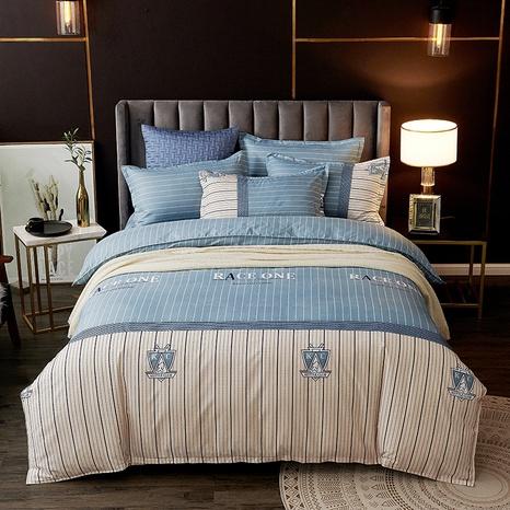 Brief gedruckt Streifen Hit Farbe Mode Bettwäsche Set Großhandel Nihaojewelry NHDYJ410461's discount tags