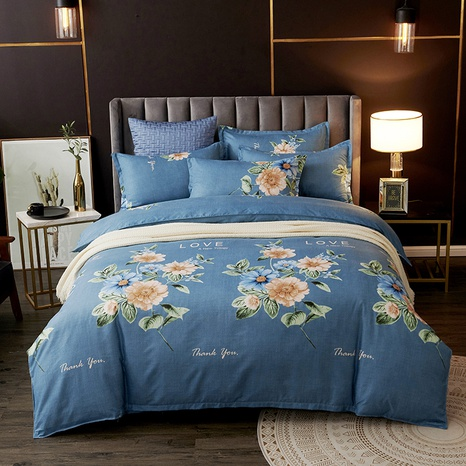 Blaue Blumen-bedruckte Mode-Bettwäsche-Set Großhandel Nihaojewelry NHDYJ410460's discount tags