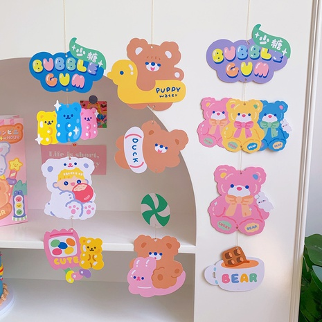 wholesale cute bear lamb wall dormitory decoration paper hanging card nihaojewelry  NHZE409902's discount tags